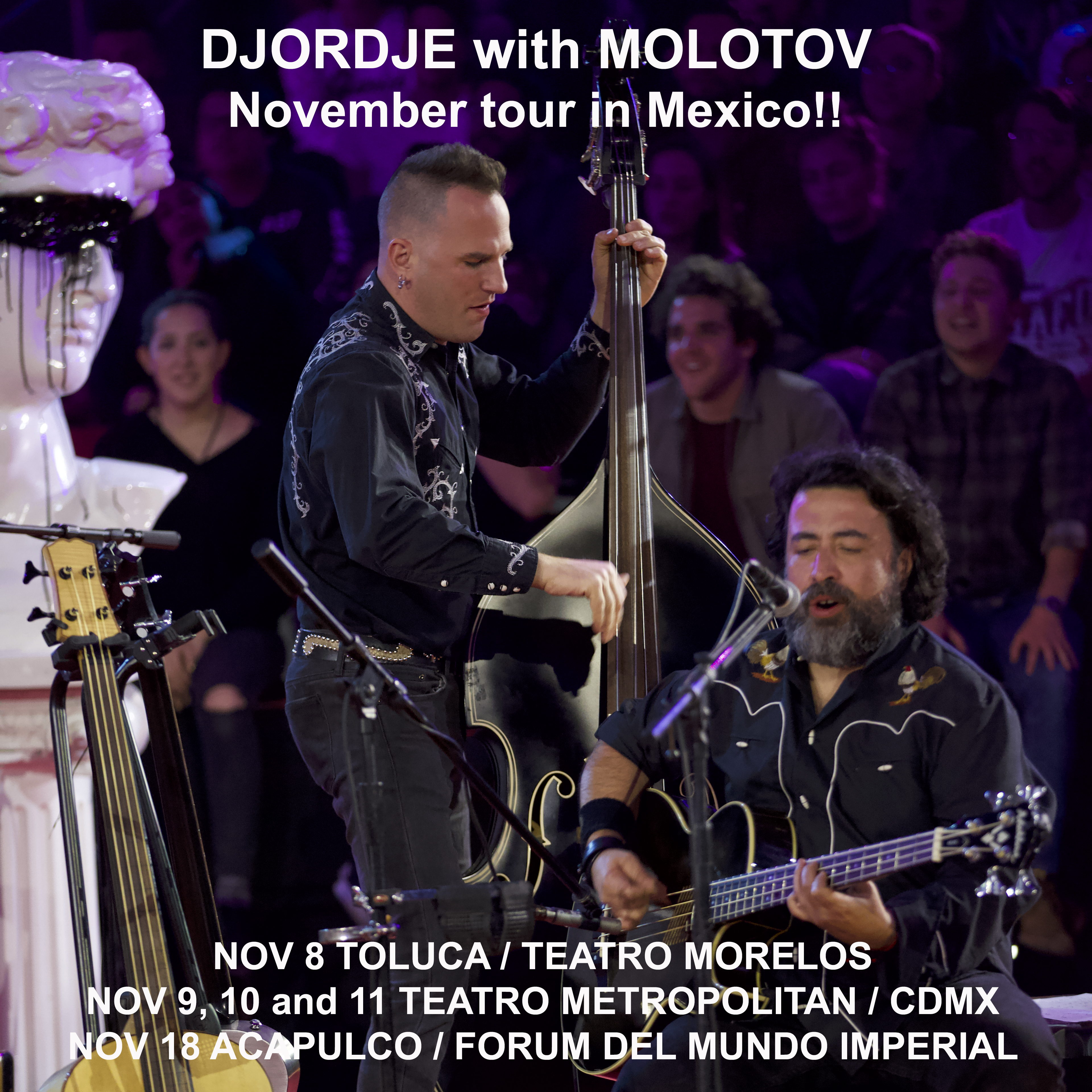 Tiger Army's bass player Djordje with Mexican band Molotov on tour