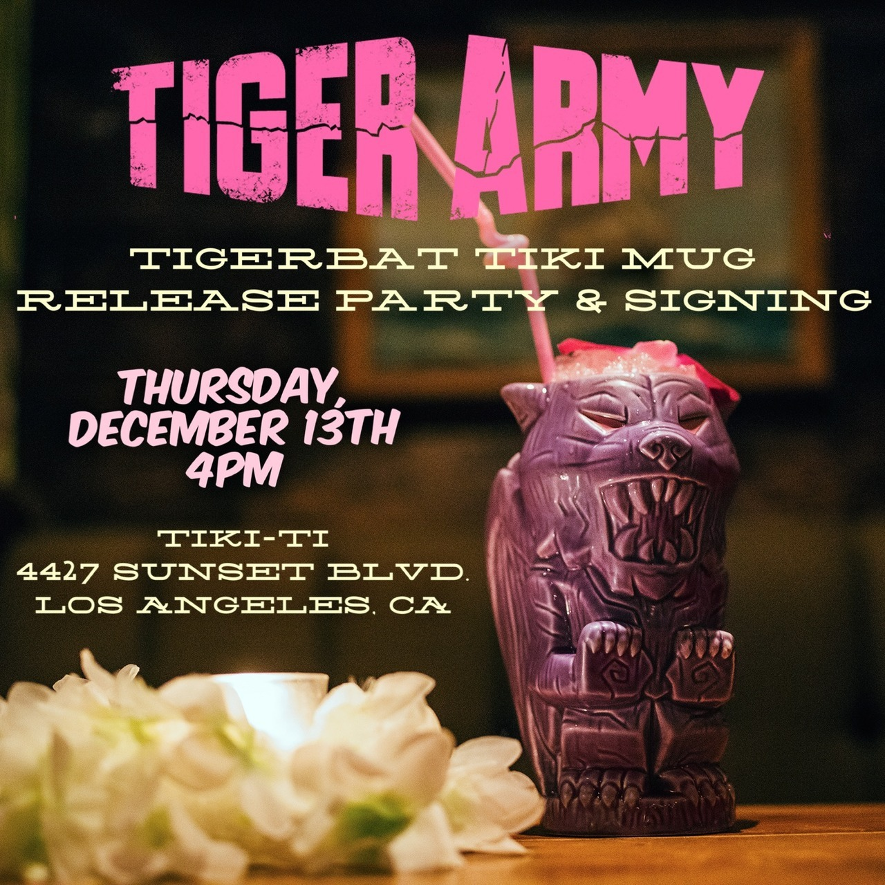 tiger army tiki mug for signing at tiki-ti